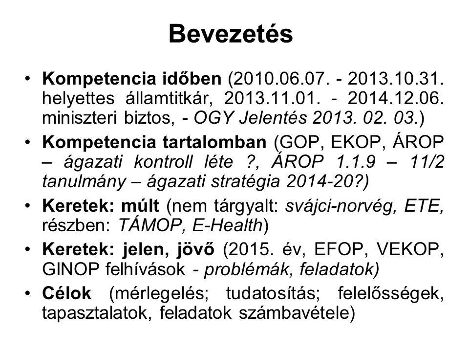 Bevezetés Kompetencia időben (2010.06.07. - 2013.10.31. helyettes államtitkár, 2013.11.01. - 2014.12.06. miniszteri biztos, - OGY Jelentés 2013. 02. 0