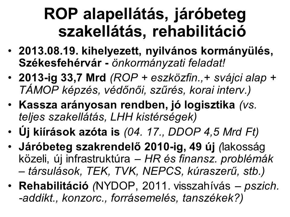 ROP alapellátás, járóbeteg szakellátás, rehabilitáció 2013.08.19. kihelyezett, nyilvános kormányülés, Székesfehérvár - önkormányzati feladat! 2013-ig