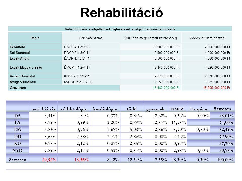 Rehabilitáció pszichiátriaaddiktológiakardiológiatüd ő gyermekNMSZHospice összesen DA3,41%4,84%0,37%0,84%2,62%0,53%0,00%43,01% ÉA3,79%0,99%2,20%0,89%2