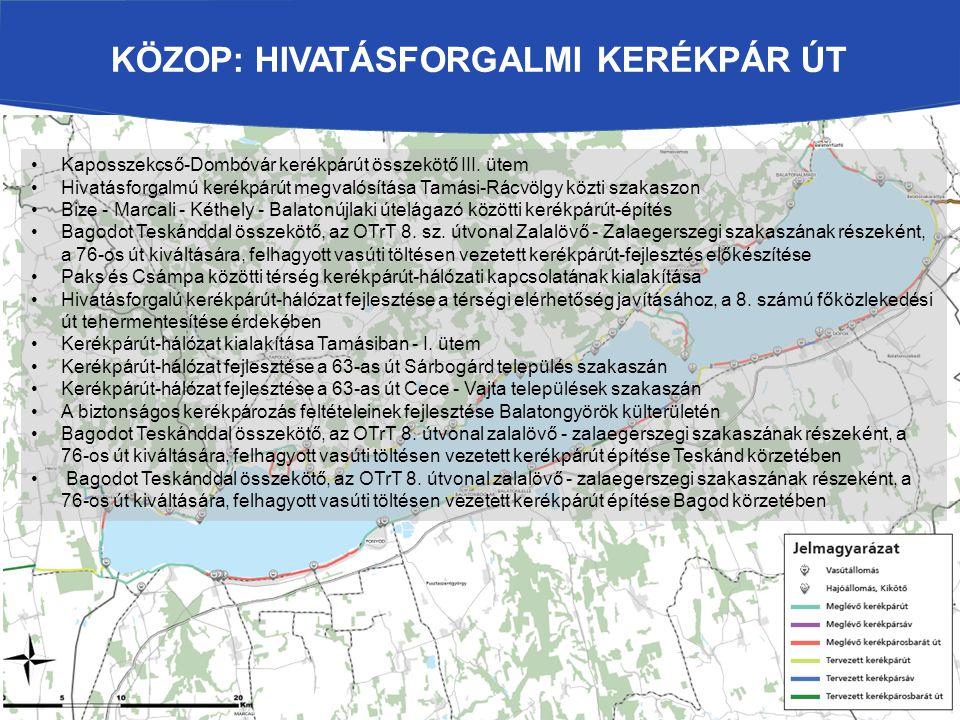 KÖZOP: HIVATÁSFORGALMI KERÉKPÁR ÚT Kaposszekcső-Dombóvár kerékpárút összekötő III. ütem Hivatásforgalmú kerékpárút megvalósítása Tamási-Rácvölgy közti