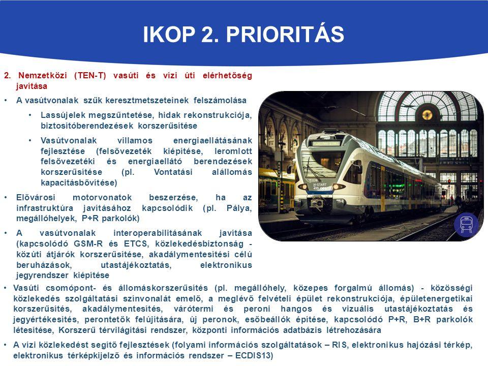 IKOP 2. PRIORITÁS 2. Nemzetközi (TEN-T) vasúti és vízi úti elérhetőség javítása A vasútvonalak szűk keresztmetszeteinek felszámolása Lassújelek megszű