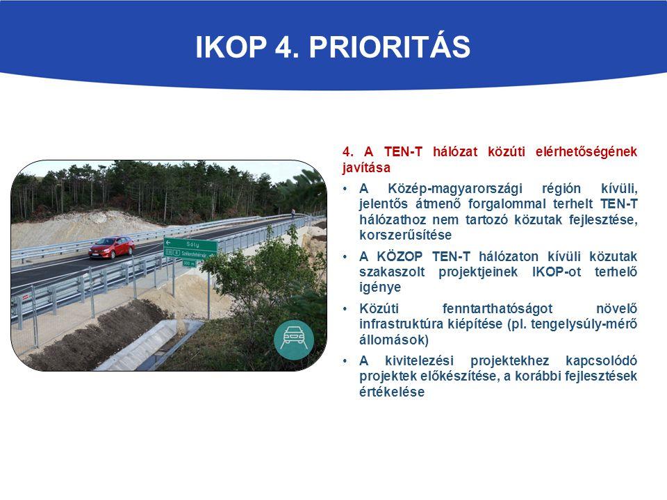 4. A TEN-T hálózat közúti elérhetőségének javítása A Közép-magyarországi régión kívüli, jelentős átmenő forgalommal terhelt TEN-T hálózathoz nem tarto