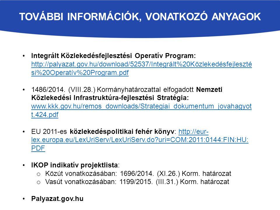 TOVÁBBI INFORMÁCIÓK, VONATKOZÓ ANYAGOK Integrált Közlekedésfejlesztési Operatív Program: http://palyazat.gov.hu/download/52537/Integrált%20Közlekedésf