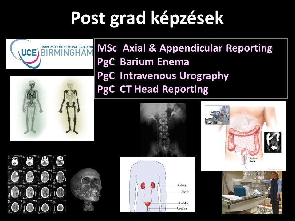 MSc Axial & Appendicular Reporting PgC Barium Enema PgC Intravenous Urography PgC CT Head Reporting Post grad képzések