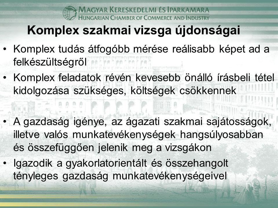 Komplex szakmai vizsgáztatás törvényi szabályozása Szakképzésről szóló 2011.