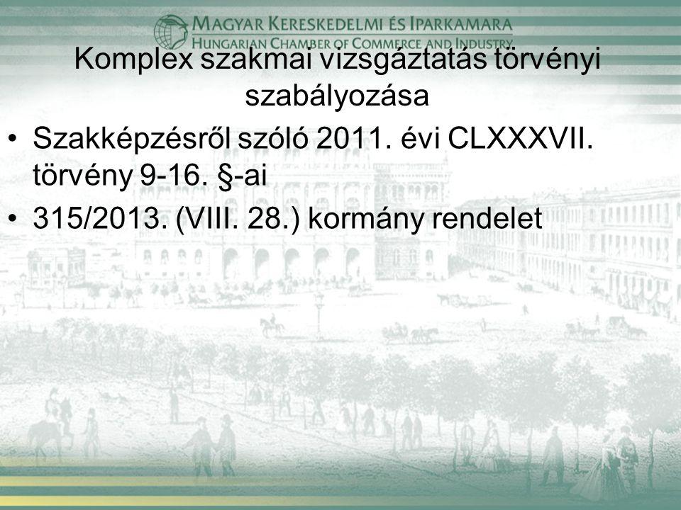 Új vizsgaszabályzat Egyetlen kormányrendelet tartalmazza a vizsgáztatással összefüggő szervezési, lebonyolítási, értékelési és díjazási szabályokat Vizsgák idegen nyelven történő letétele: - Nemzetiségi iskolában - Két tanítási nyelvű szakképző iskolában - SZVK-ban előírt idegen nyelvi követelmények teljesítése esetén Külföldi állampolgárnak szükséges a magyar nyelvű kommunikáció