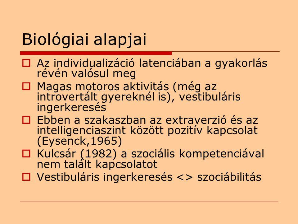Biológiai alapjai  Az individualizáció latenciában a gyakorlás révén valósul meg  Magas motoros aktivitás (még az introvertált gyereknél is), vestibuláris ingerkeresés  Ebben a szakaszban az extraverzió és az intelligenciaszint között pozitív kapcsolat (Eysenck,1965)  Kulcsár (1982) a szociális kompetenciával nem talált kapcsolatot  Vestibuláris ingerkeresés <> szociábilitás
