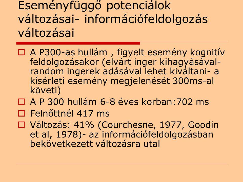 Eseményfüggő potenciálok változásai- információfeldolgozás változásai  A P300-as hullám, figyelt esemény kognitív feldolgozásakor (elvárt inger kihagyásával- random ingerek adásával lehet kiváltani- a kísérleti esemény megjelenését 300ms-al követi)  A P 300 hullám 6-8 éves korban:702 ms  Felnőttnél 417 ms  Változás: 41% (Courchesne, 1977, Goodin et al, 1978)- az információfeldolgozásban bekövetkezett változásra utal