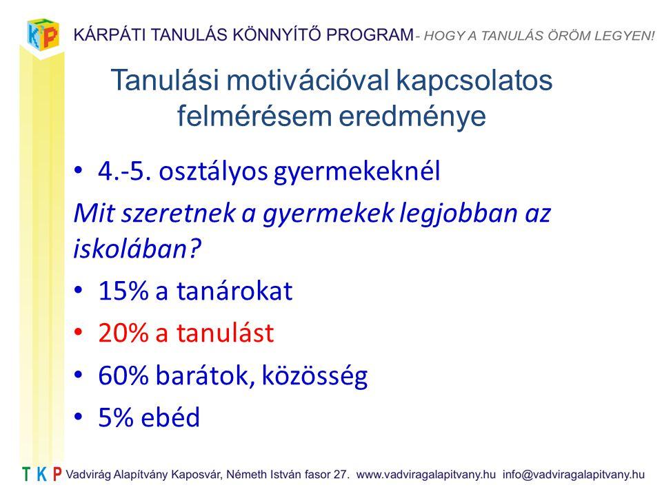 Tanulási motivációval kapcsolatos felmérésem eredménye 4.-5.