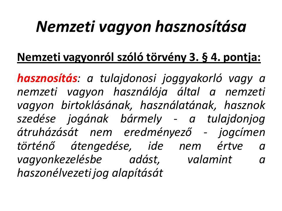 Nemzeti vagyon hasznosítása Nemzeti vagyonról szóló törvény 3.