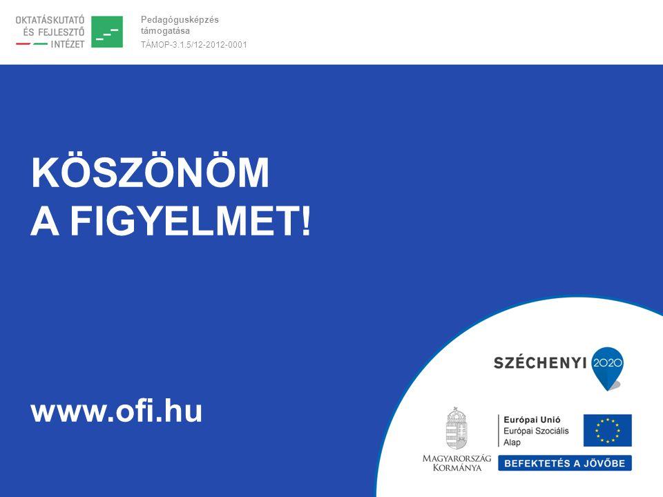 Pedagógusképzés támogatása TÁMOP-3.1.5/12-2012-0001 KÖSZÖNÖM A FIGYELMET! www.ofi.hu