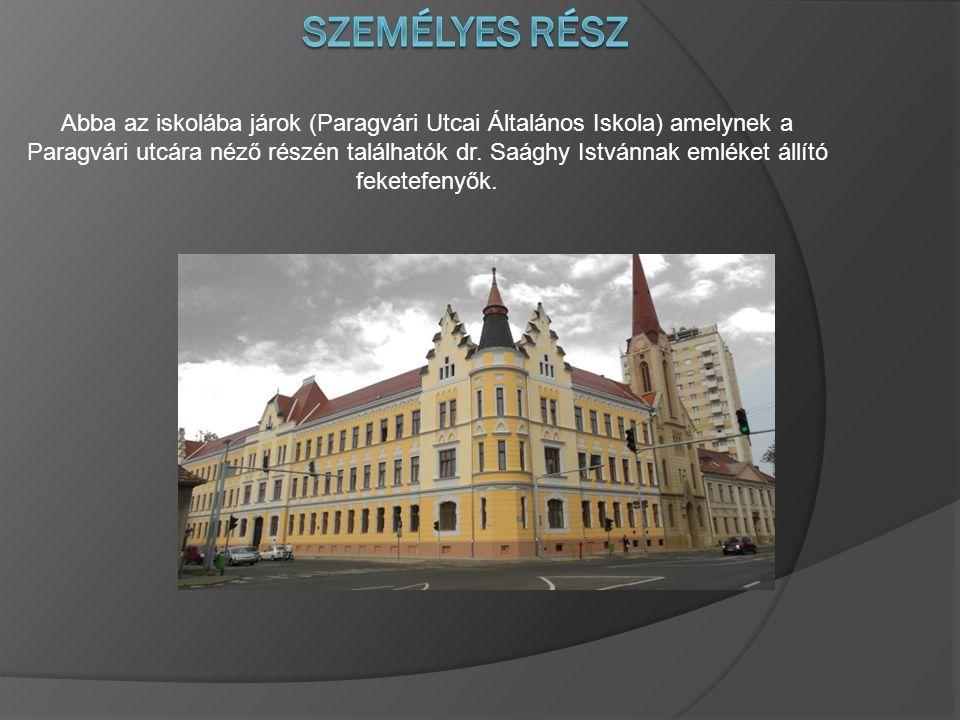 Abba az iskolába járok (Paragvári Utcai Általános Iskola) amelynek a Paragvári utcára néző részén találhatók dr. Saághy Istvánnak emléket állító feket
