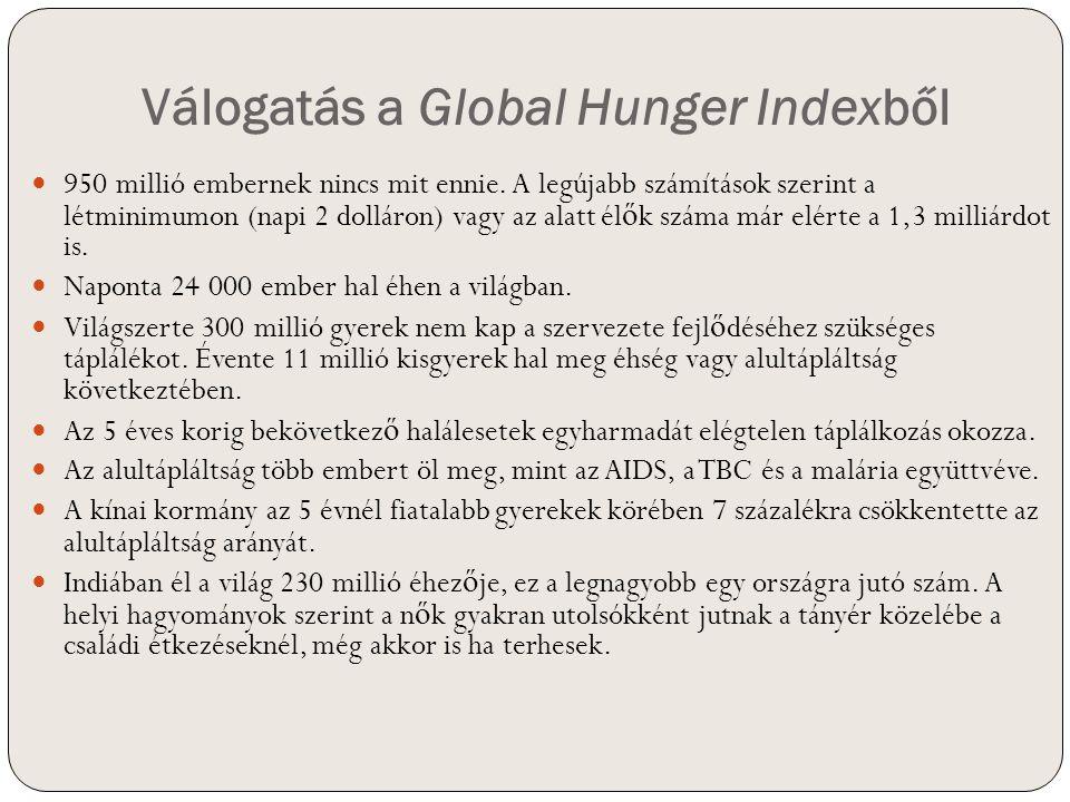 Válogatás a Global Hunger Indexből 950 millió embernek nincs mit ennie. A legújabb számítások szerint a létminimumon (napi 2 dolláron) vagy az alatt é