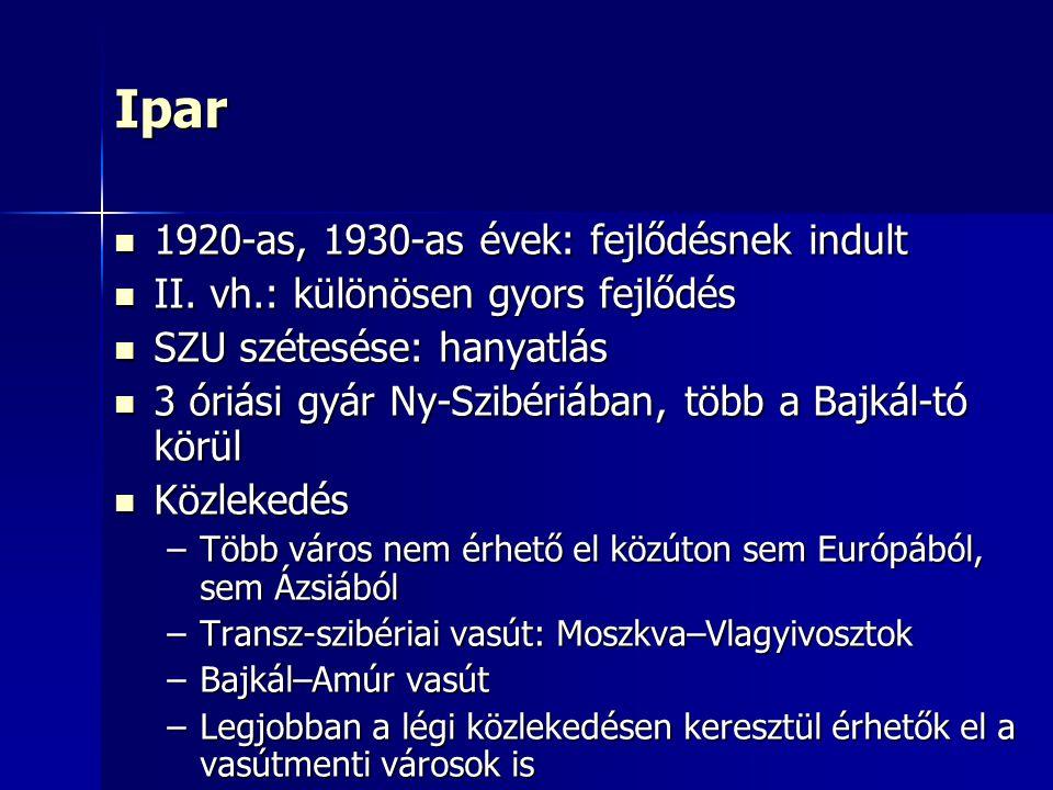 Ipar 1920-as, 1930-as évek: fejlődésnek indult 1920-as, 1930-as évek: fejlődésnek indult II.