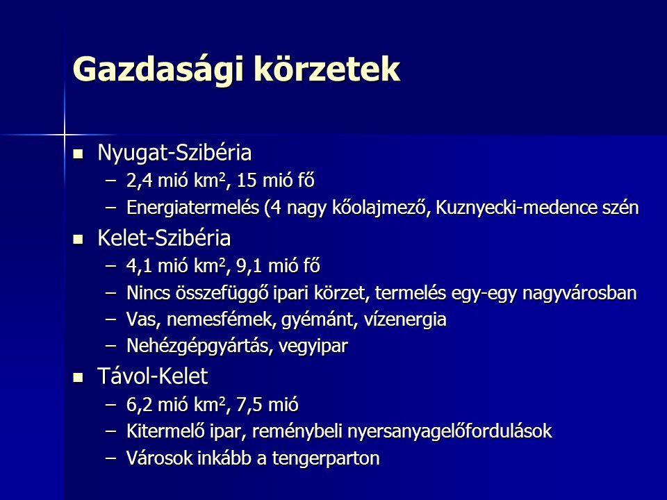 Gazdasági körzetek Nyugat-Szibéria Nyugat-Szibéria –2,4 mió km 2, 15 mió fő –Energiatermelés (4 nagy kőolajmező, Kuznyecki-medence szén Kelet-Szibéria Kelet-Szibéria –4,1 mió km 2, 9,1 mió fő –Nincs összefüggő ipari körzet, termelés egy-egy nagyvárosban –Vas, nemesfémek, gyémánt, vízenergia –Nehézgépgyártás, vegyipar Távol-Kelet Távol-Kelet –6,2 mió km 2, 7,5 mió –Kitermelő ipar, reménybeli nyersanyagelőfordulások –Városok inkább a tengerparton