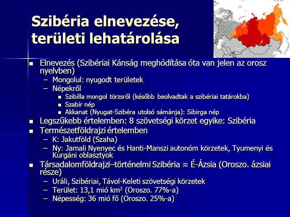 Szibéria elnevezése, területi lehatárolása Elnevezés (Szibériai Kánság meghódítása óta van jelen az orosz nyelvben) Elnevezés (Szibériai Kánság meghódítása óta van jelen az orosz nyelvben) –Mongolul: nyugodt területek –Népekről Szibilla mongol törzsről (később beolvadtak a szibériai tatárokba) Szibilla mongol törzsről (később beolvadtak a szibériai tatárokba) Szabír nép Szabír nép Akkanat (Nyugat-Szibéra utolsó sámánja): Sibirga nép Akkanat (Nyugat-Szibéra utolsó sámánja): Sibirga nép Legszűkebb értelemben: 8 szövetségi körzet egyike: Szibéria Legszűkebb értelemben: 8 szövetségi körzet egyike: Szibéria Természetföldrajzi értelemben Természetföldrajzi értelemben –K: Jakutföld (Szaha) –Ny: Jamali Nyenyec és Hanti-Manszi autonóm körzetek, Tyumenyi és Kurgáni oblasztyok Társadalomföldrajzi–történelmi Szibéria ≈ É-Ázsia (Oroszo.