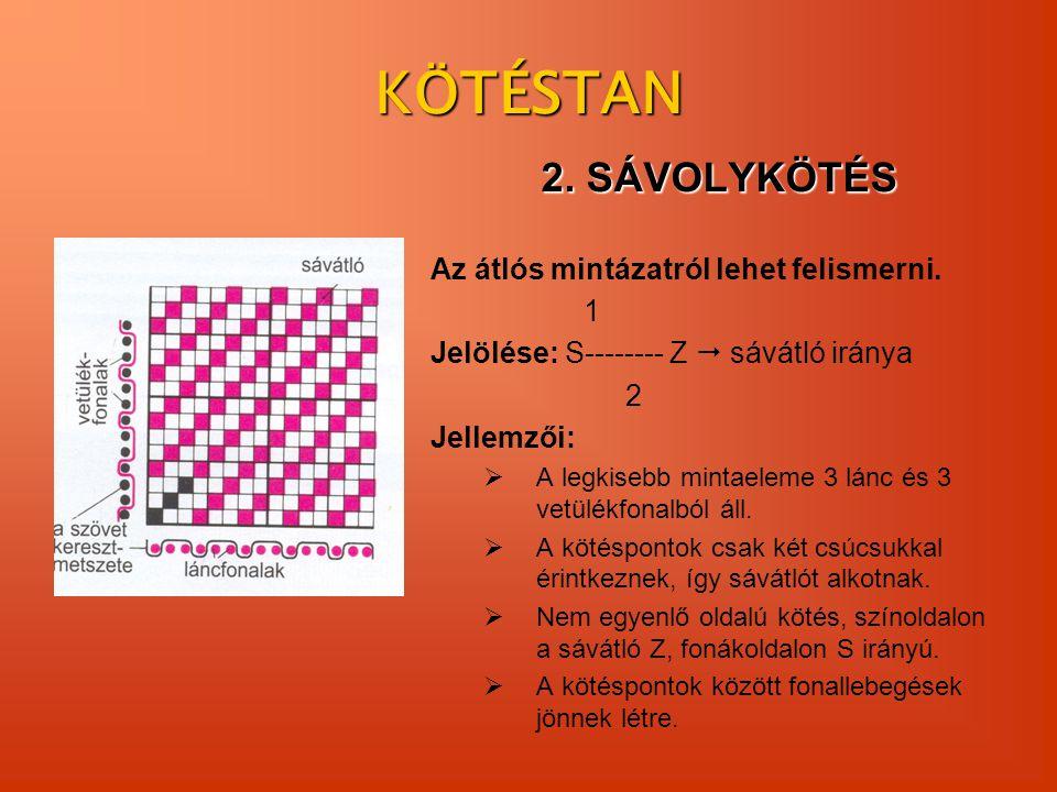 KÖTÉSTAN 2. SÁVOLYKÖTÉS Az átlós mintázatról lehet felismerni. 1 Jelölése: S-------- Z  sávátló iránya 2 Jellemzői:  A legkisebb mintaeleme 3 lánc é