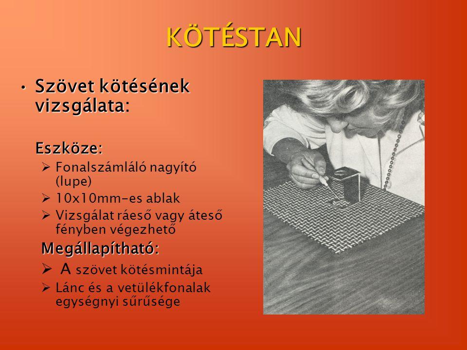 KÖTÉSTAN Szövet kötésének vizsgálataSzövet kötésének vizsgálata:Eszköze:  Fonalszámláló nagyító (lupe)  10x10mm-es ablak  Vizsgálat ráeső vagy átes