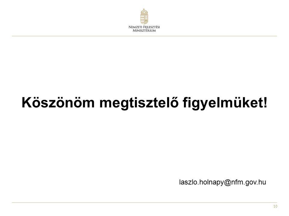 10 Köszönöm megtisztelő figyelmüket! laszlo.holnapy@nfm.gov.hu