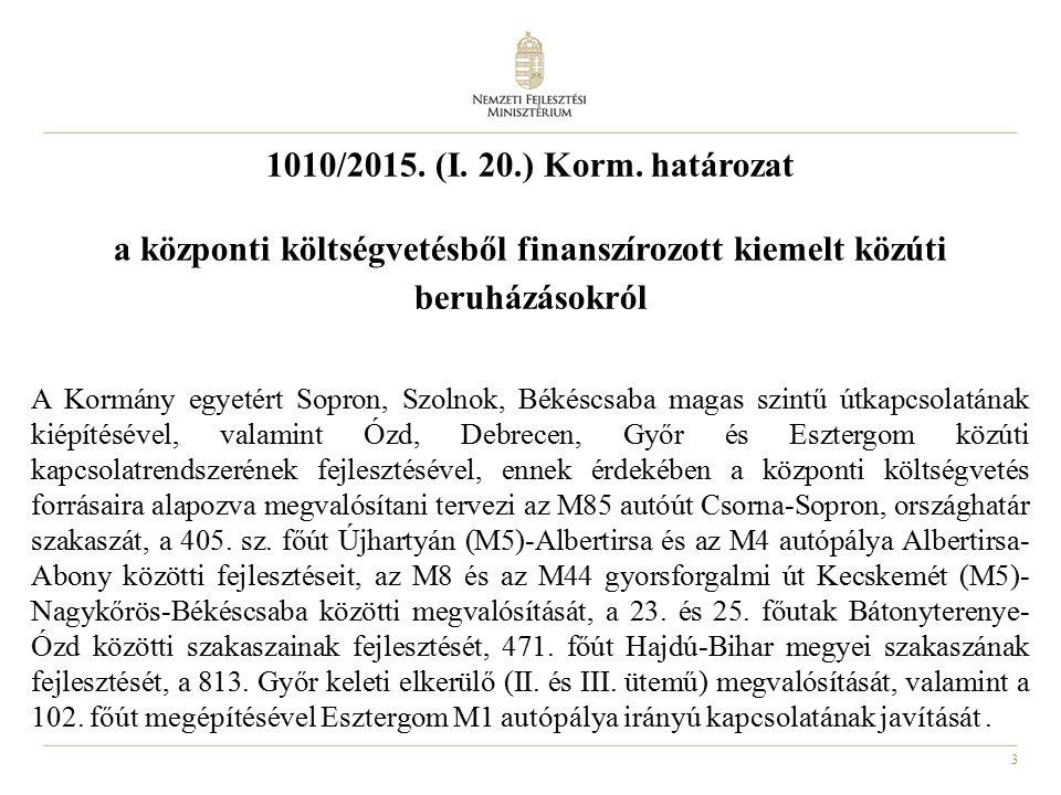3 1010/2015. (I. 20.) Korm. határozat a központi költségvetésből finanszírozott kiemelt közúti beruházásokról A Kormány egyetért Sopron, Szolnok, Béké