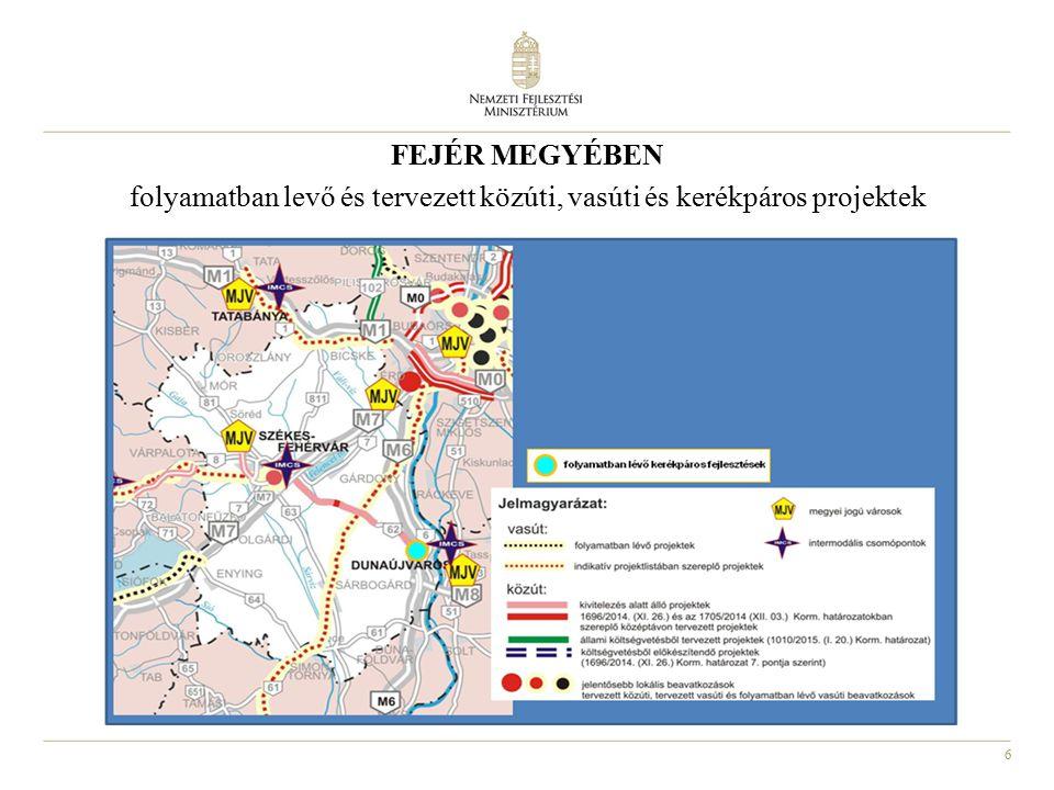 6 FEJÉR MEGYÉBEN folyamatban levő és tervezett közúti, vasúti és kerékpáros projektek
