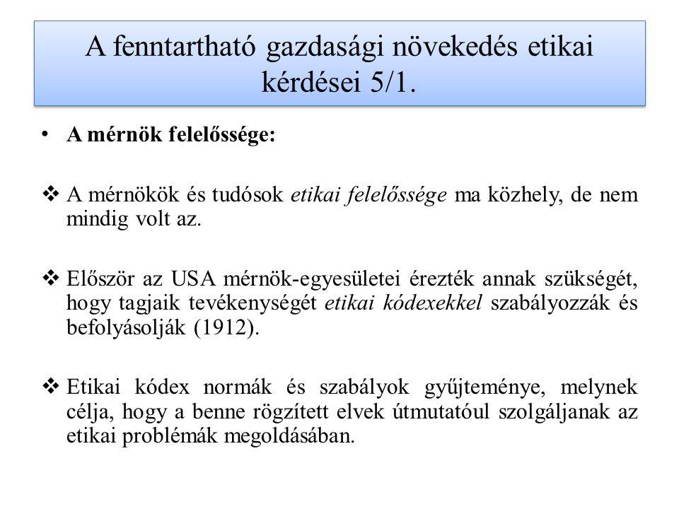 A fenntartható gazdasági növekedés etikai kérdései 5/1.
