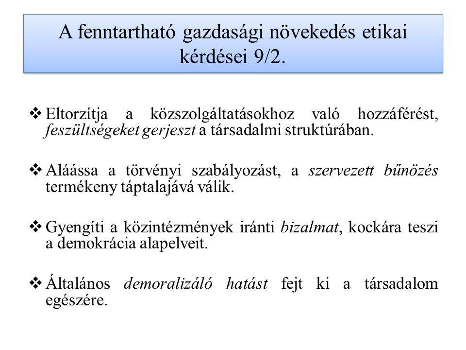 A fenntartható gazdasági növekedés etikai kérdései 9/2.
