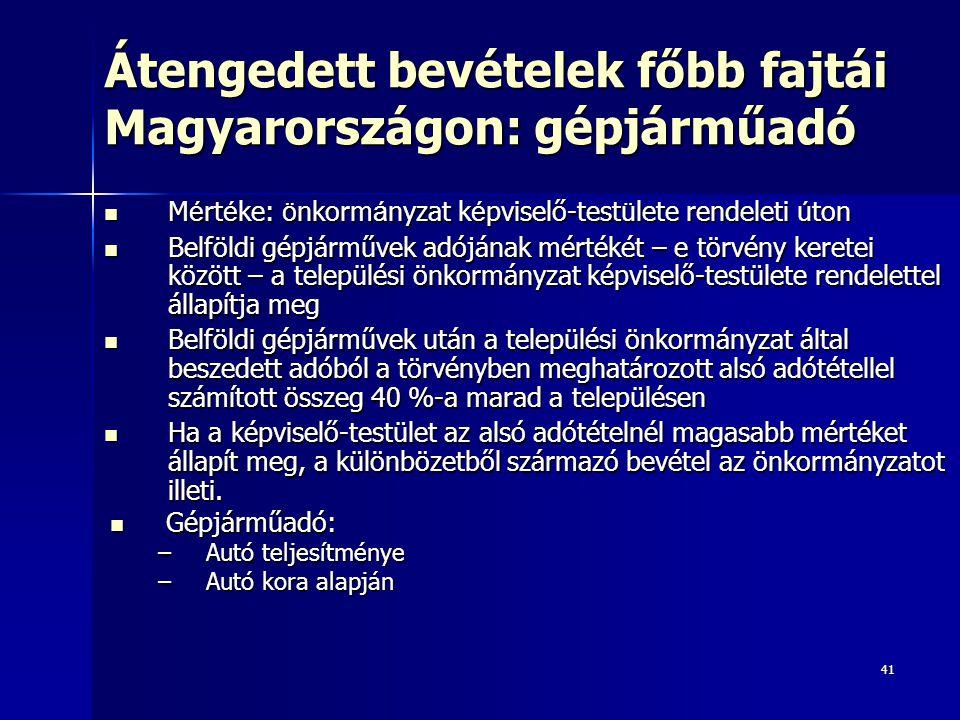 41 Átengedett bevételek főbb fajtái Magyarországon: gépjárműadó M é rt é ke: ö nkorm á nyzat k é pviselő-test ü lete rendeleti ú ton M é rt é ke: ö nkorm á nyzat k é pviselő-test ü lete rendeleti ú ton Belföldi gépjárművek adójának mértékét – e törvény keretei között – a települési önkormányzat képviselő-testülete rendelettel állapítja meg Belföldi gépjárművek adójának mértékét – e törvény keretei között – a települési önkormányzat képviselő-testülete rendelettel állapítja meg Belföldi gépjárművek után a települési önkormányzat által beszedett adóból a törvényben meghatározott alsó adótétellel számított összeg 40 %-a marad a településen Belföldi gépjárművek után a települési önkormányzat által beszedett adóból a törvényben meghatározott alsó adótétellel számított összeg 40 %-a marad a településen Ha a képviselő-testület az alsó adótételnél magasabb mértéket állapít meg, a különbözetből származó bevétel az önkormányzatot illeti.