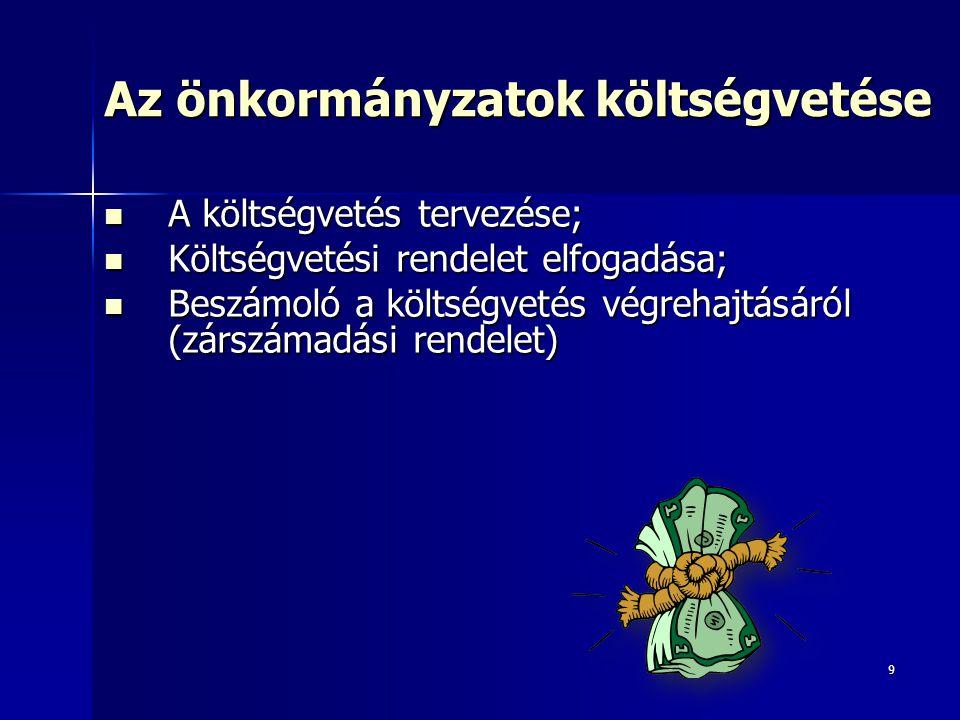 9 Az önkormányzatok költségvetése A költségvetés tervezése; A költségvetés tervezése; Költségvetési rendelet elfogadása; Költségvetési rendelet elfogadása; Beszámoló a költségvetés végrehajtásáról (zárszámadási rendelet) Beszámoló a költségvetés végrehajtásáról (zárszámadási rendelet)