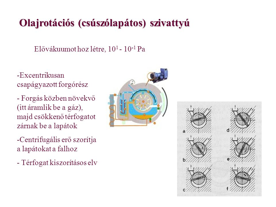 Olajrotációs (csúszólapátos) szivattyú Elővákuumot hoz létre, 10 1 - 10 -1 Pa -Excentrikusan csapágyazott forgórész - Forgás közben növekvő (itt áraml
