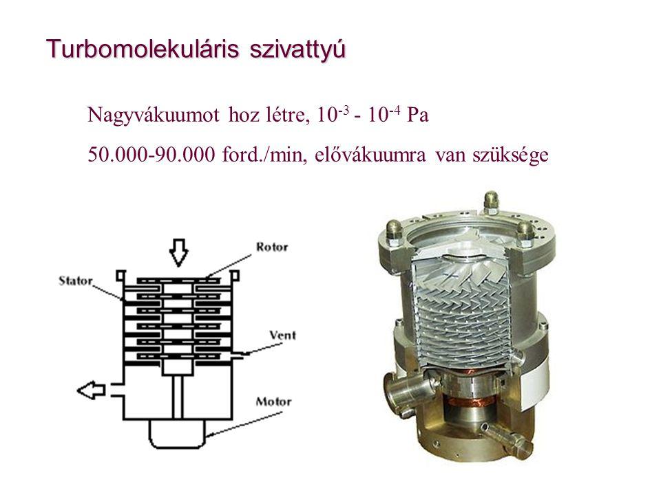 Turbomolekuláris szivattyú Nagyvákuumot hoz létre, 10 -3 - 10 -4 Pa 50.000-90.000 ford./min, elővákuumra van szüksége