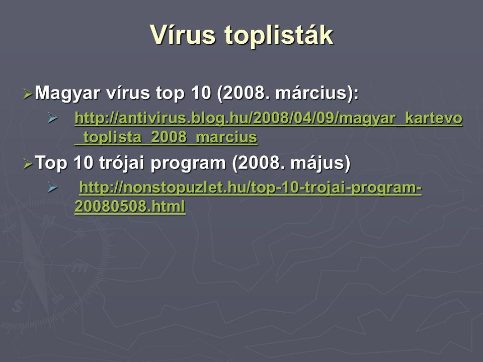 Vírus toplisták  Magyar vírus top 10 (2008. március):  http://antivirus.blog.hu/2008/04/09/magyar_kartevo _toplista_2008_marcius http://antivirus.bl