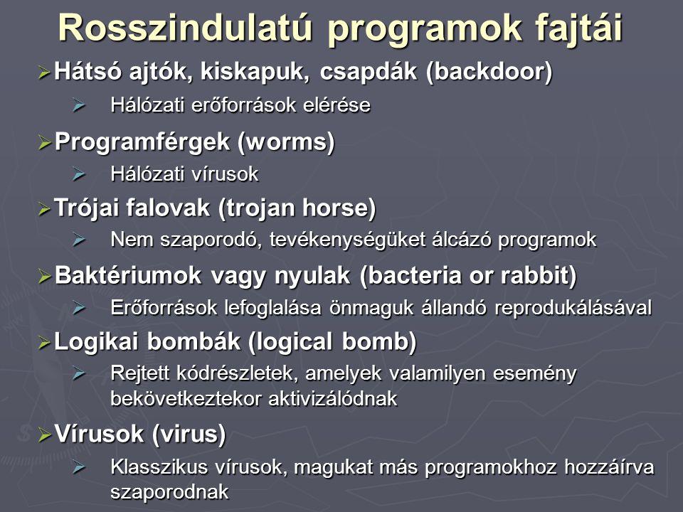 Rosszindulatú programok fajtái  Hátsó ajtók, kiskapuk, csapdák (backdoor)  Hálózati erőforrások elérése  Programférgek (worms)  Hálózati vírusok 