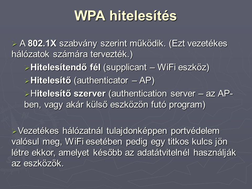 WPA hitelesítés  A 802.1X szabvány szerint működik. (Ezt vezetékes hálózatok számára tervezték.)  Hitelesítendő fél (supplicant – WiFi eszköz)  Hit