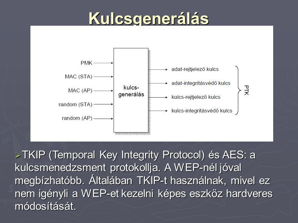 Kulcsgenerálás  TKIP (Temporal Key Integrity Protocol) és AES: a kulcsmenedzsment protokollja. A WEP-nél jóval megbízhatóbb. Általában TKIP-t használ