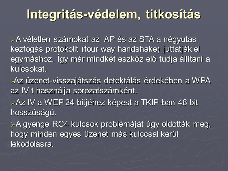 Integritás-védelem, titkosítás  A véletlen számokat az AP és az STA a négyutas kézfogás protokollt (four way handshake) juttatják el egymáshoz. Így m