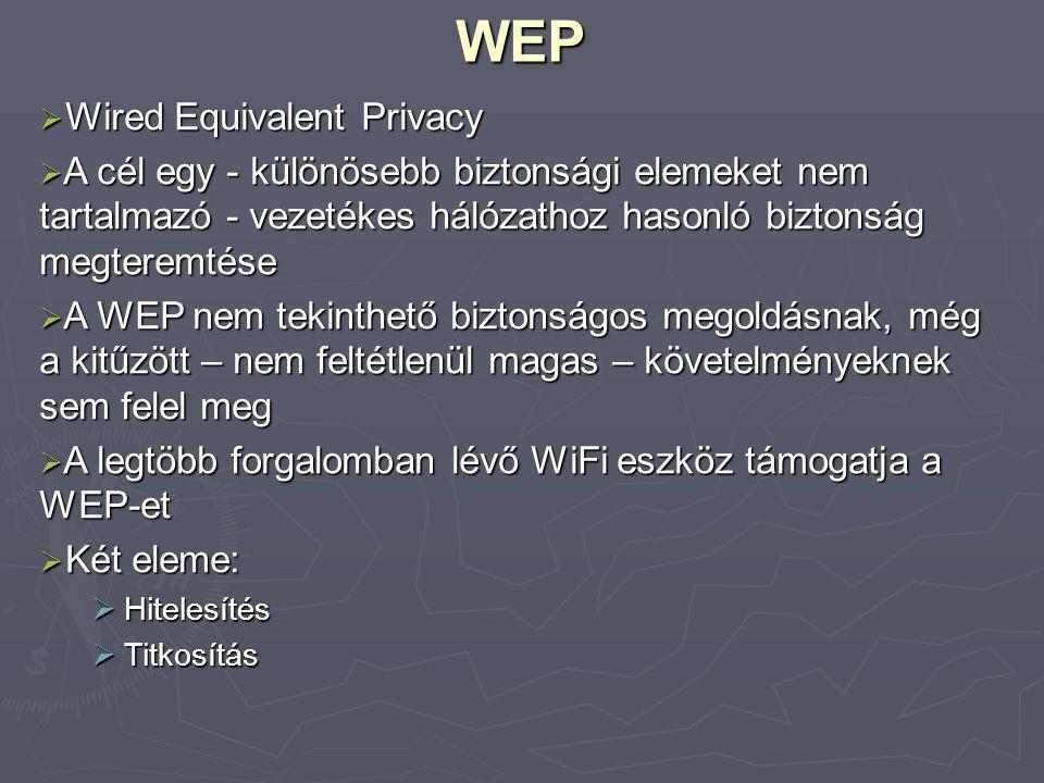 A WEP működése  Hitelesítés: 1.STA  AP authenticate request (hitelesítési kérés) 2.AP  STA authenticate challenge (véletlen szám) 3.STA  AP authenticate response (a szám visszaküldése tikosítva) 4.AP  STA authenticate success or failure (sikeres vagy sikertelen hitelesítés)  A hitelesítés egy – az AP és az STA által ismert titkos kulccsal történik  A sikeres hitelesítést követően a kommunikáció titkosítva, a hitelesítésnél használt kulccsal folytatódik