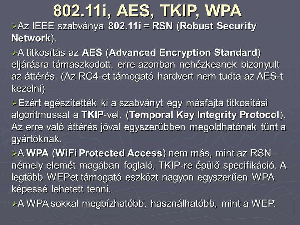802.11i, AES, TKIP, WPA  Az IEEE szabványa 802.11i = RSN (Robust Security Network).  A titkosítás az AES (Advanced Encryption Standard) eljárásra tá