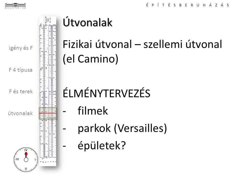 É P Í T É S B E R U H Á Z Á S I II III IV igény és F F 4 típusa F és terek útvonalak Útvonalak Fizikai útvonal – szellemi útvonal (el Camino) ÉLMÉNYTE