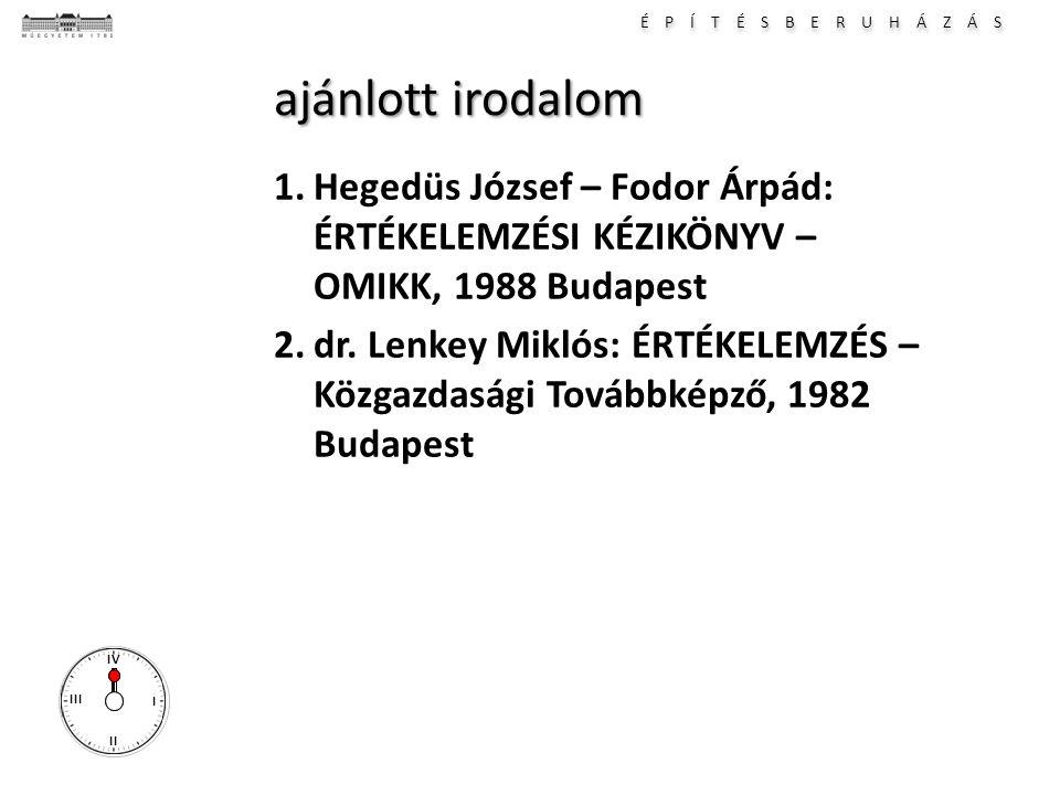 É P Í T É S B E R U H Á Z Á S I II III IV ajánlott irodalom 1.Hegedüs József – Fodor Árpád: ÉRTÉKELEMZÉSI KÉZIKÖNYV – OMIKK, 1988 Budapest 2.dr. Lenke