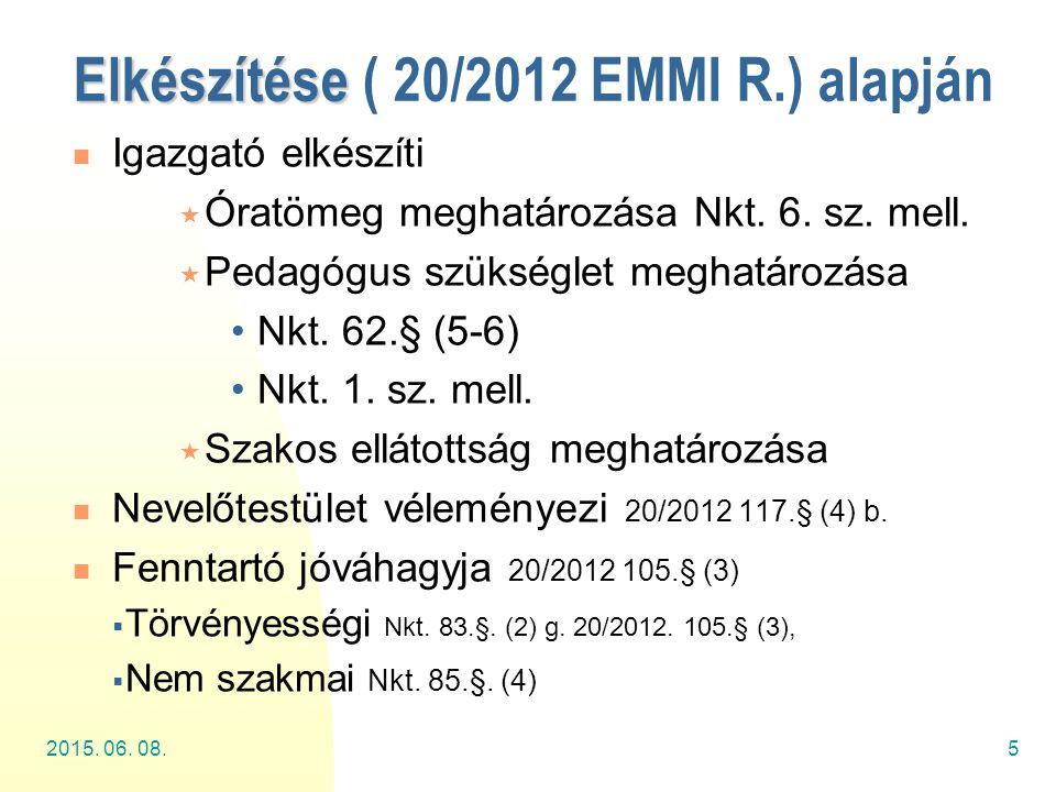 2015. 06. 08.5 Elkészítése Elkészítése ( 20/2012 EMMI R.) alapján Igazgató elkészíti  Óratömeg meghatározása Nkt. 6. sz. mell.  Pedagógus szükséglet