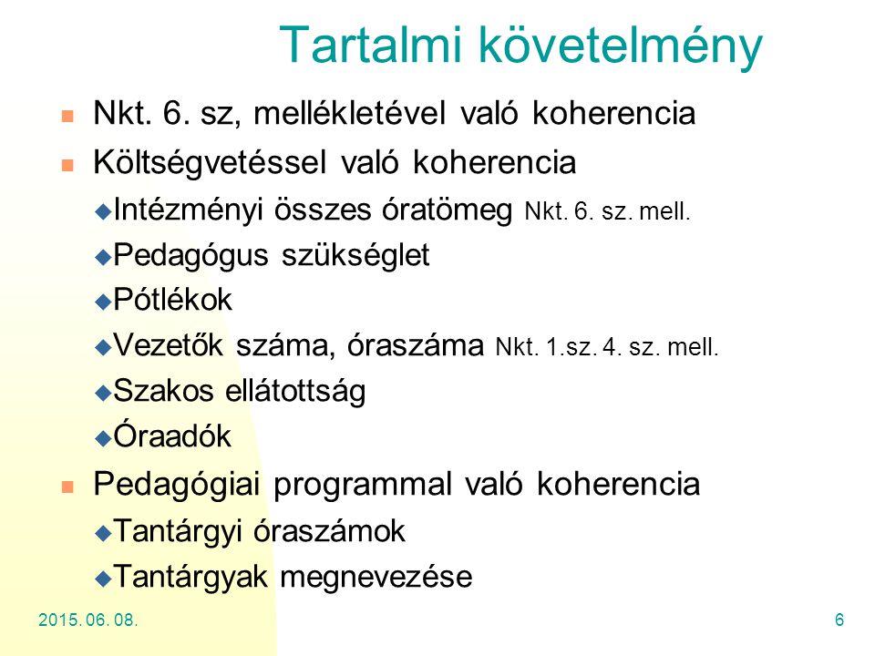 2015. 06. 08.6 Tartalmi követelmény Nkt. 6. sz, mellékletével való koherencia Költségvetéssel való koherencia  Intézményi összes óratömeg Nkt. 6. sz.