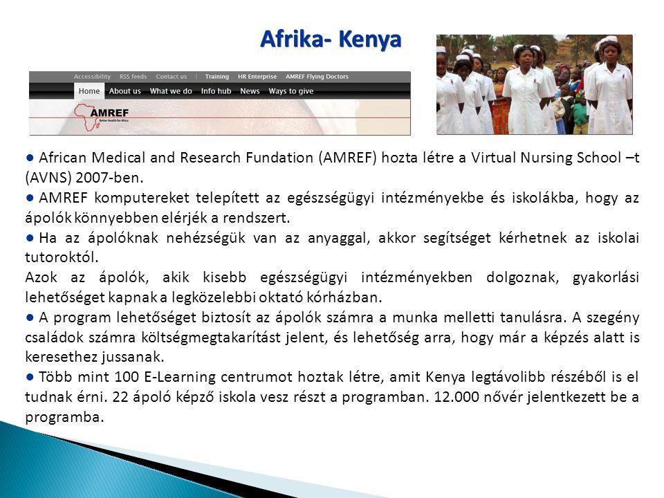 Afrika- Kenya ● African Medical and Research Fundation (AMREF) hozta létre a Virtual Nursing School –t (AVNS) 2007-ben. ● AMREF komputereket telepítet
