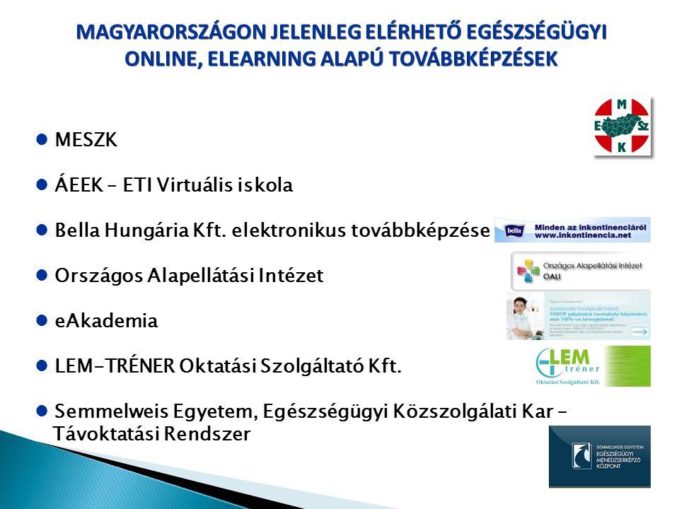 MAGYARORSZÁGON JELENLEG ELÉRHETŐ EGÉSZSÉGÜGYI ONLINE, ELEARNING ALAPÚ TOVÁBBKÉPZÉSEK MESZK ÁEEK – ETI Virtuális iskola Bella Hungária Kft. elektroniku