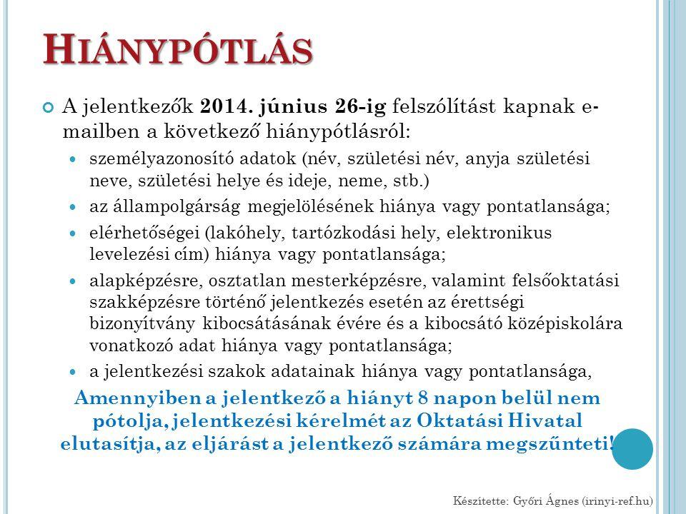 H IÁNYPÓTLÁS A jelentkezők 2014.
