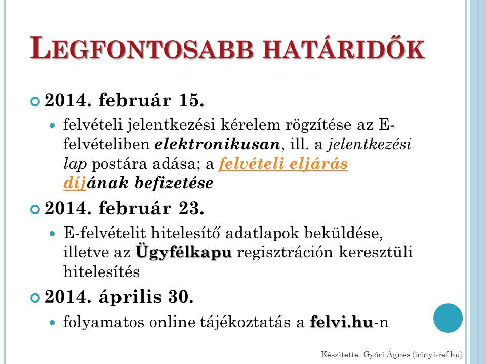 L EGFONTOSABB HATÁRIDŐK 2014. február 15.