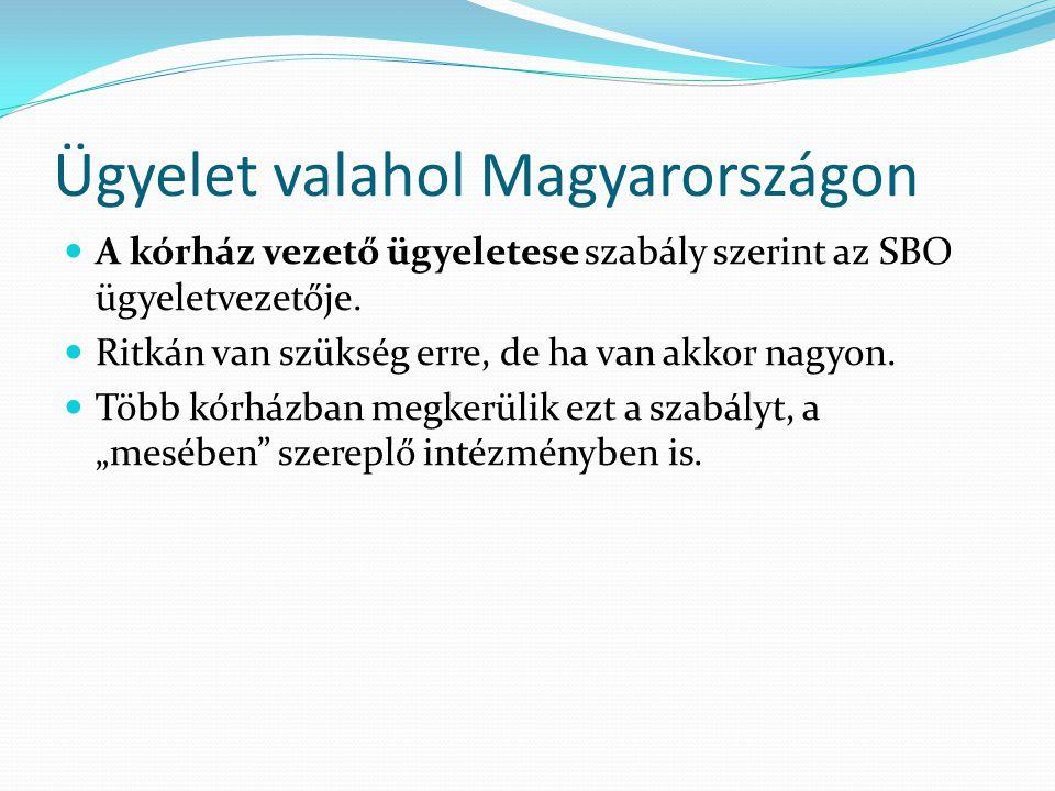 Ügyelet valahol Magyarországon A kórház vezető ügyeletese szabály szerint az SBO ügyeletvezetője.
