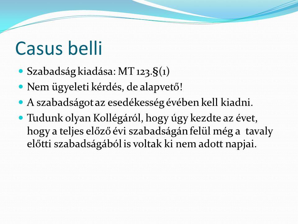 Casus belli Szabadság kiadása: MT 123.§(1) Nem ügyeleti kérdés, de alapvető.