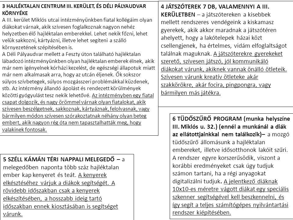 6 TÜDŐSZŰRŐ PROGRAM (munka helyszíne III.Miklós u.