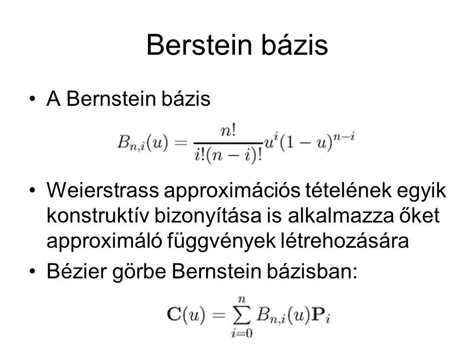 Berstein bázis A Bernstein bázis Weierstrass approximációs tételének egyik konstruktív bizonyítása is alkalmazza őket approximáló függvények létrehozá